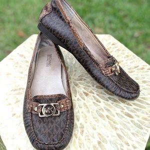 Michael Kors Brown Leather & Python Logo Moccasins